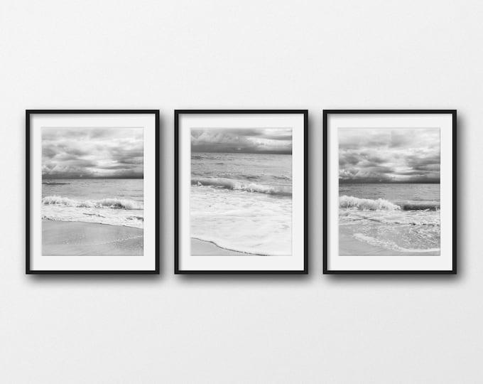 Beach Photography Prints, Black & White Ocean Art, Coastal Print Set,  Neutral Wall Art, Water Art, Framed Prints and Canvas Available