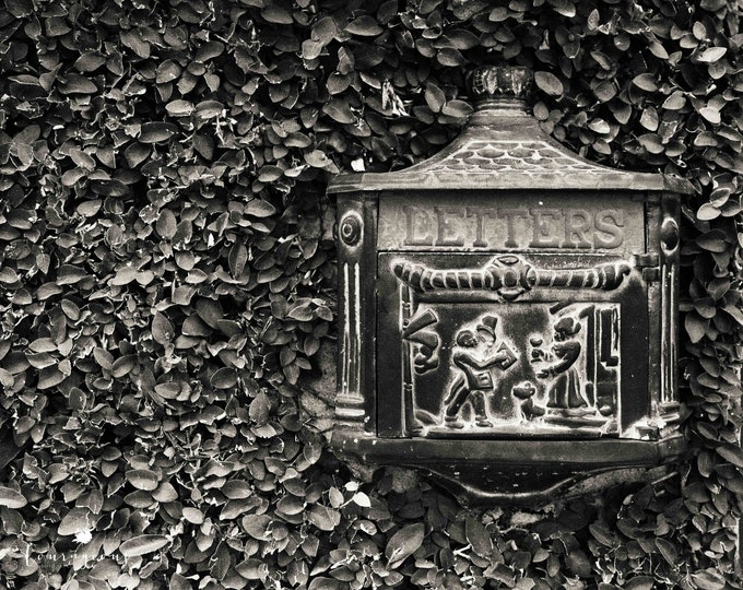 Charleston Mailbox Photography Print, Vintage Cast Iron Letters Mailbox, Black & White Office Art, Framed Mailbox Print and Canvas Available
