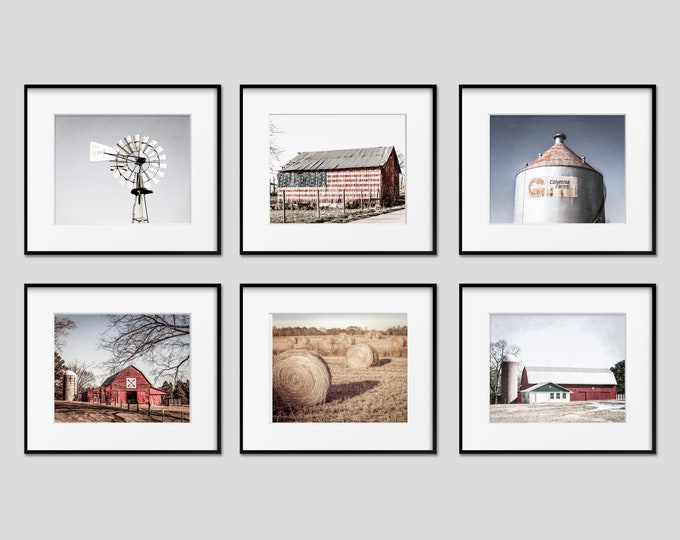 Rustic Barn Landscape Wall Art Decor Print or Canvas Set. Red Country Wall Art for Farmhouse Decor. American Flag Barn & Windmill Prints.