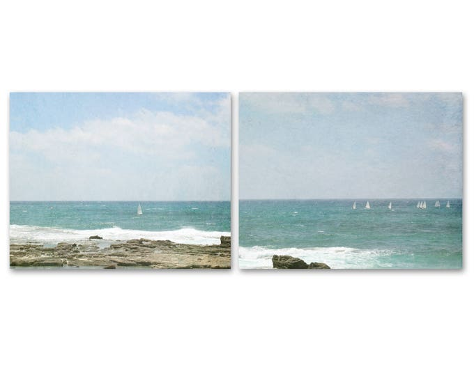 Coastal Landscape Prints, Israel Photography, Large Canvas Art, Framed Sailboat Prints, Turquoise  Ocean Canvas, Set of 2 Sailboat Prints