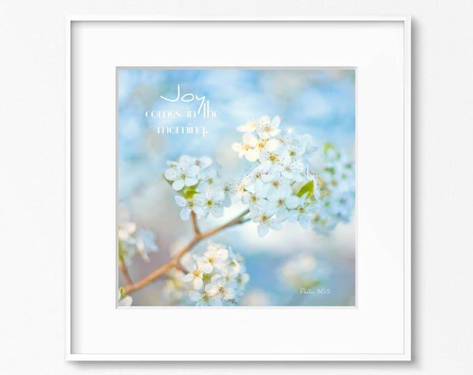Scripture Photography Print, Bible Verse Print, Blue Floral Print, Joy, Framed Scripture Print, Bible Verse Canvas Art, Blue Nursery Print