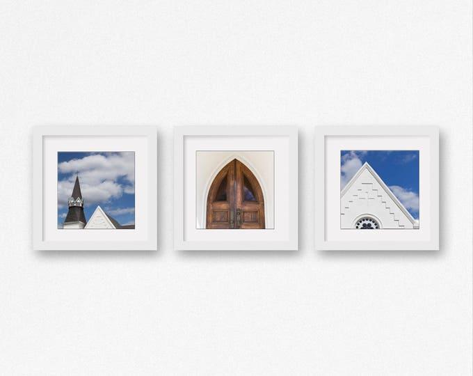 Geometric Photography Prints, Church Art, Set of 3, Indigo Blue Art, White Home Decor, Minimalist Canvas Set, Framed Geometric Print Set
