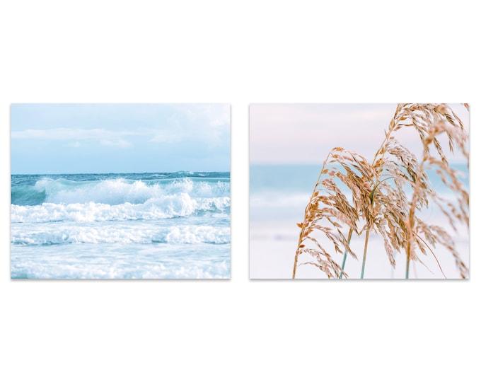 Beach Photography Prints, Turquoise Water, Pastel Blue Art, Coastal Print Set, Framed Beach Prints, Framed Prints, Large Ocean Canvas