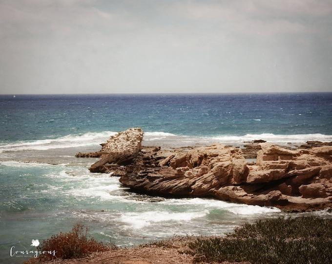 Coastal Landscape Photography, Israel Beach Print, Beach House Decor, Mediterranean Sea Israel, Blue Ocean Print, Framed Ocean Print, Canvas