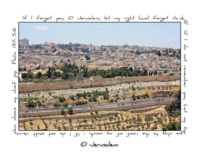 O Jerusalem Israel Photography Art Print Scripture Prophetic Church Judaica Inspiration Christian Black White Blue Gold Green 10x8 14x11