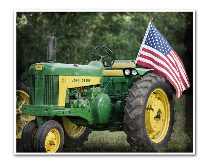 Farmhouse Wall Art Farm Photography Vintage Tractor American Flag Country Decor Rustic Kitchen Red White Blue Frame Print Canvas 40x32 30x24