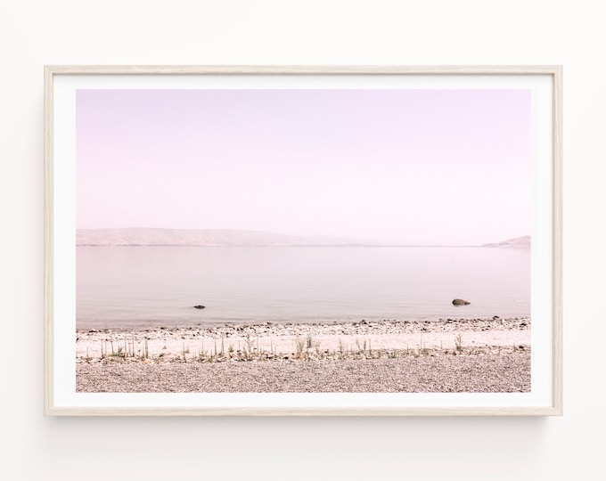 Israel Sea of Galilee Landscape Wall Art Decor Print or Canvas. Holy Land Pastel Water Photography, Coastal Living & Travel Wall Art.