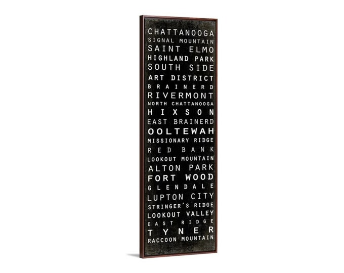 Chattanooga Subway Style Sign, Vintage Style Subway Canvas, Large Canvas Art, Chattanooga Canvas Wall Art, Framed Canvas, 12x36 20x60