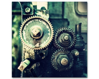 Industrial Decor Vintage Machine Gears Photography Masculine Rustic Emerald Green Gold Large Wall Art Print Canvas Square