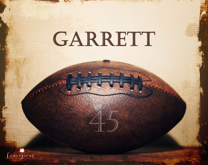 Personalized Football Print, Custom Sports Wall Art, Boy's Room Decor, Framed Sports Print, Personalized Sports Art, Custom Football Canvas