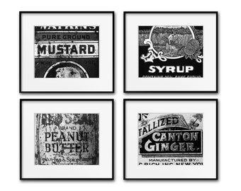 Modern Farmhouse Kitchen Photography Prints, Vintage Labels, Farmhouse Wall Art, Rustic Decor, Black & White, Framed Prints and Canvases
