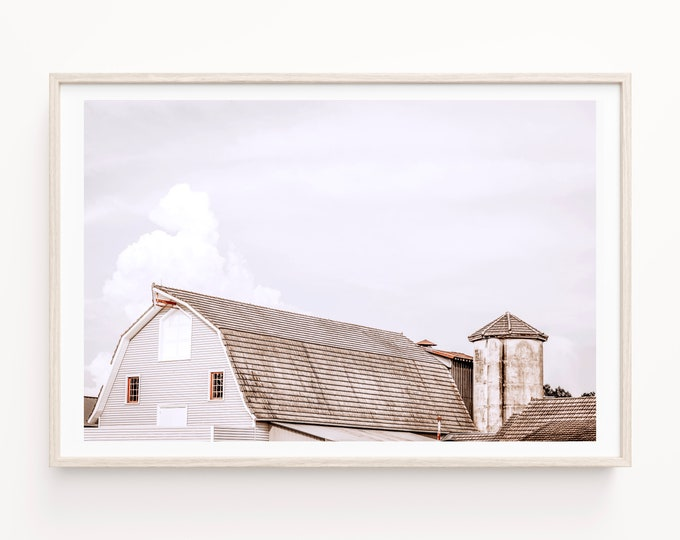 Barn Photography Print, Minimalist Barn Print, Modern Farmhouse Wall Art, Barn & Silo, Rustic Home Decor, Framed and Canvas Print Available