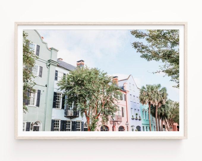 Charleston Photography Print, Rainbow Row, Pastel Wall Art, Minimal Art, Large Canvas Art, Charleston Wall Art, Custom Framed Prints