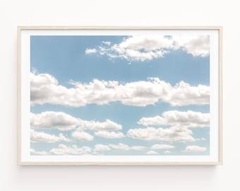 Cloud Photography Print, Cloud Wall Art, Large Canvas Art, Nursery Wall Art, Celestial Wall Art, Blue Sky Wall Art, Sky Print and Canvas Art