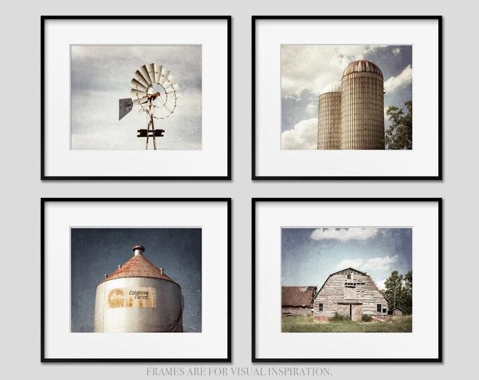 Industrial Farmhouse Photography Prints, Rustic Decor, Windmill, Silo, Barn, Farmhouse Wall Art, Framed Farmhouse Prints, Canvas Set of 4