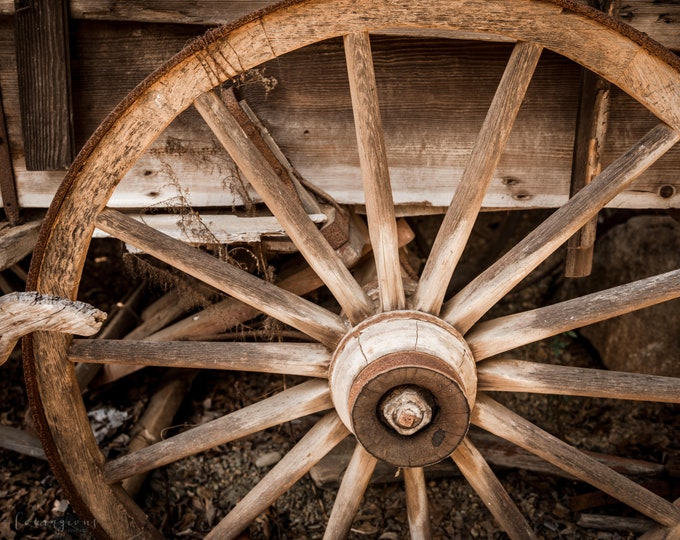 Wagon Wheel Photography Print, Farmhouse Decor, Rustic Wall Art, Framed Wagon Wheel Print, Large Wagon Wheel Canvas, Wagon Wheel Picture