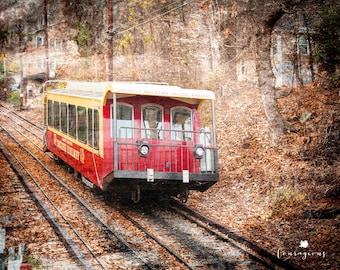 Chattanooga Photography Print, Red Trolley Print, Lookout Mountain Incline, Red Incline Print, Framed Red Trolley Print, Chattanooga Canvas