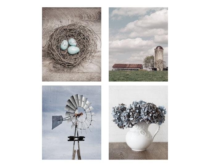 Farmhouse Photography Prints, Country Wall Art, Windmill, Farm, Silo, Nest, Blue & White Farmhouse Set, Canvas and Framed Prints Available