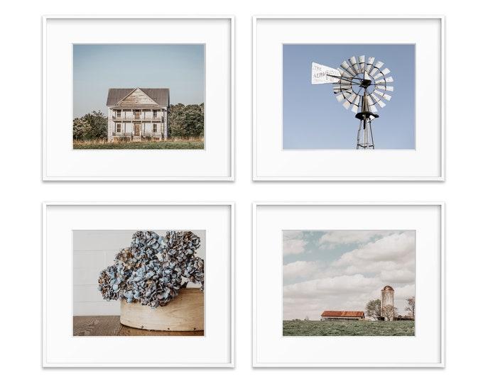 Farmhouse Photography Prints, Country Wall Art, Windmill, Farm, Silo, Barn, Blue & White Farmhouse Set, Canvas and Framed Prints Available