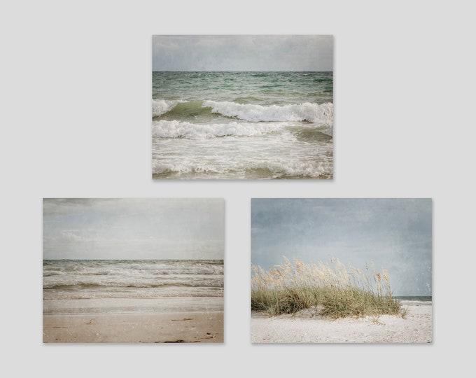 Beach Wall Art, Set of 3 Photography Prints, Blue Green Nautical Decor, Neutral Beach Decor, Coastal Art, Rustic Beach Canvases, Wood Prints
