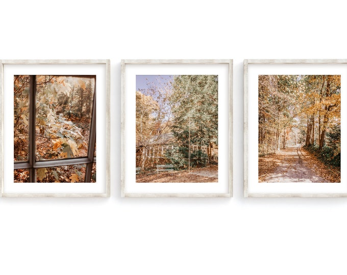 Little Brown Church in Autumn Wall Art Decor Print or Canvas Set. Walden's Ridge Signal Mountain Photography Art Print Set of 3 Gift for Her