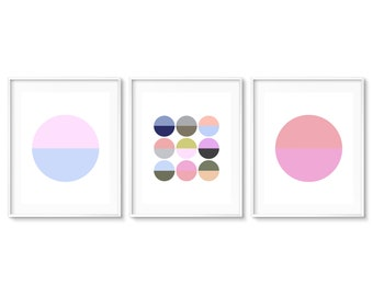 Color Block Prints, Colorful Geometric Art, Circle Wall Art, Color Graphic Prints, Minimal Wall Art, Colorful Wall Decor, Print Set