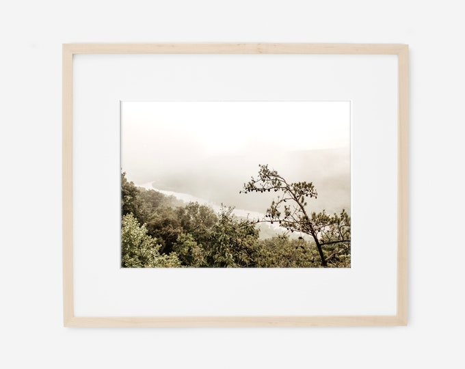 Signal Point from Signal Mountain in the Fog with the Tennessee River Gorge Wall Art Print or Canvas. Signal Mountain Photography Art Print.