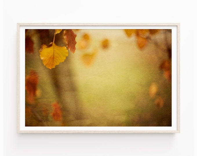 Abstract Nature Wall Art Decor, Rustic Landscape Art, Gold & Brown Nature Wall Art, Autumn Leaves Canvas, Custom Framed Print and Wood Print