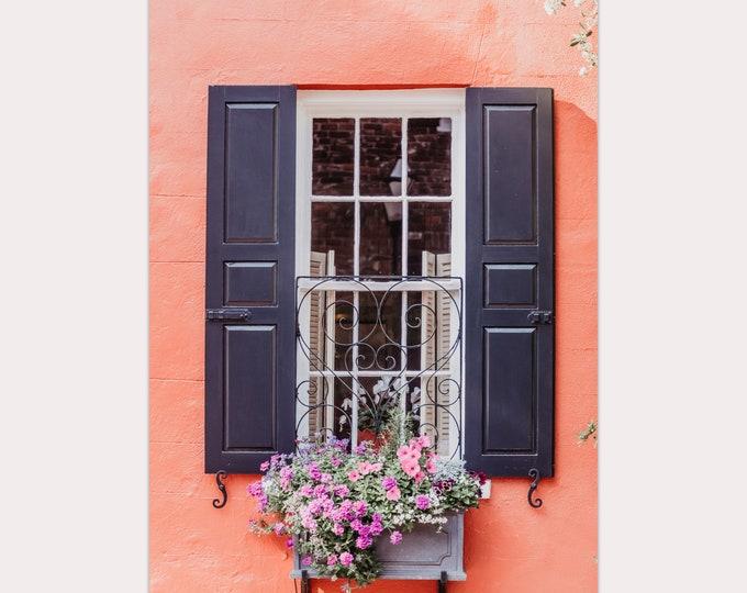 Charleston Window Photography Print, Charleston Charm, Orange and Black Wall Art, Window Boxes, Large Canvas Art, Custom Framed Prints