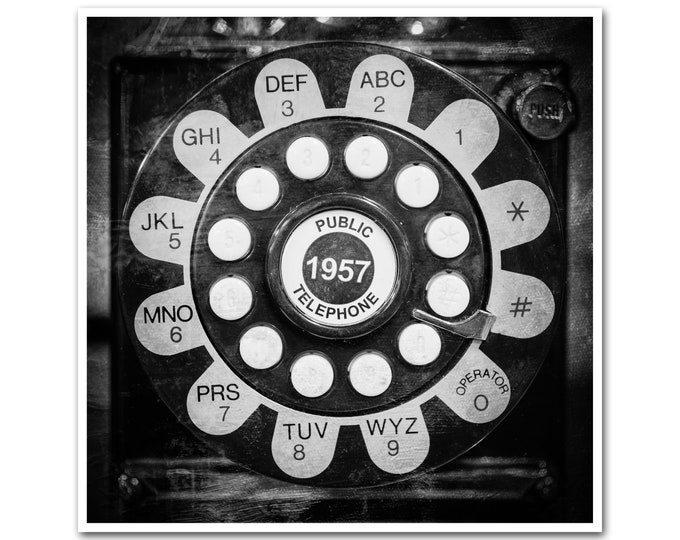 Retro Decor Telephone Photography Black & White Vintage Wall Art Office Kitchen Home Rustic Large Framed Print Canvas 30x30 24x24 20x20