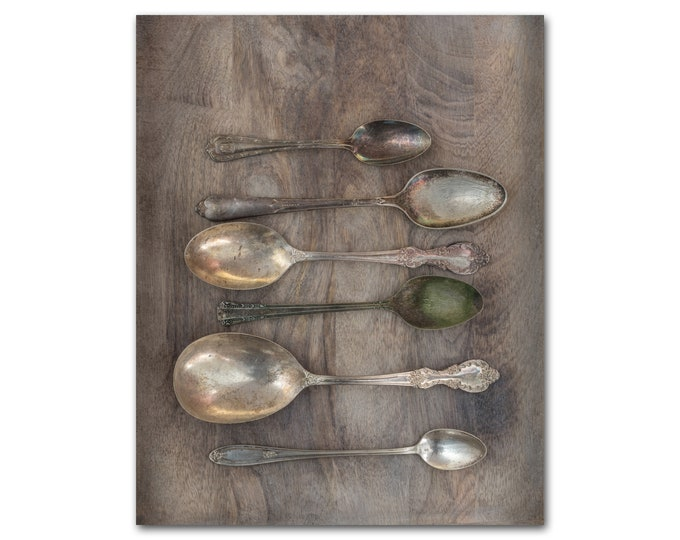 Farmhouse Kitchen Photography Print, Vintage Silverware, Dining Room Wall Art, Rustic Barn Wood, Spoons, Framed and Canvas Prints Available