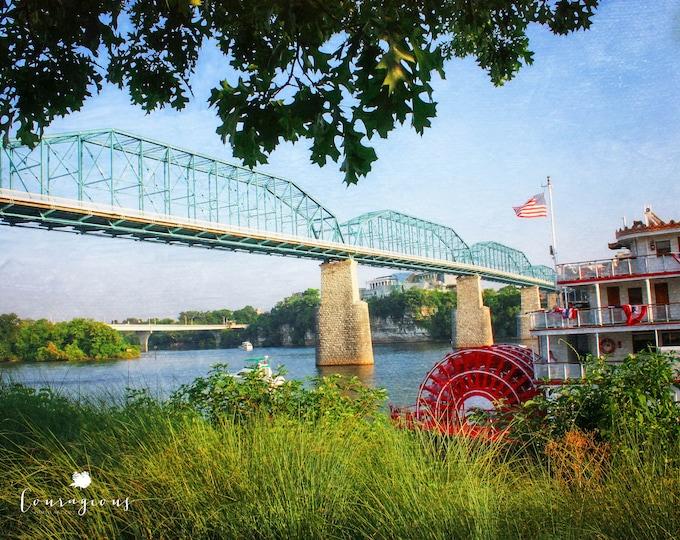 Chattanooga Photography Print, Walnut St Bridge, Delta Queen, Tennessee Wall Art, Framed Chattanooga Print, Large Chattanooga Canvas Print