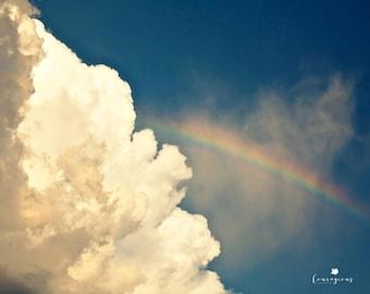 Rainbow Photography Print, Colorful Sky Wall Art, Rainbow Nursery Decor, Framed Rainbow Print, Rainbow Canvas, Cobalt Blue Canvas Art
