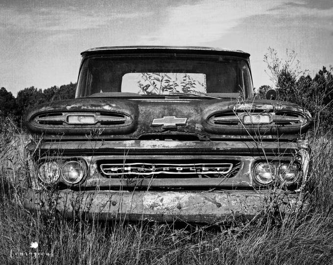 Chevy Truck 1961 Photography Print, Classic Car Picture, Rustic Man Cave Art, Garage Decor, Framed Chevy Truck Print, Large Truck Canvas