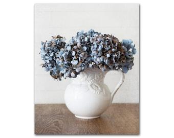 Blue Floral Photography Print, Farmhouse Wall Art, Country Home Decor, Shabby Chic Art, Blue Hydrangea, Framed Print and Canvas Available