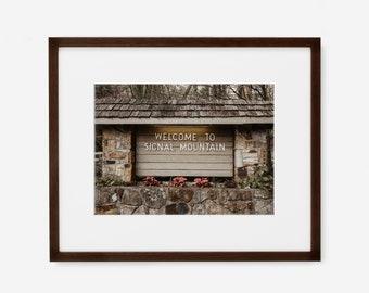 Signal Mountain Sign Photography Wall Art Decor Print or Canvas. Walden's Ridge Signal Mountain Photography Print.