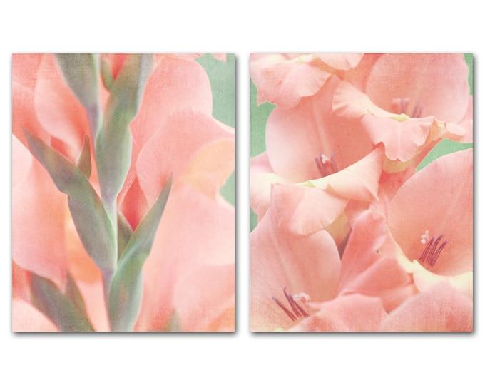 Floral Photography Prints, Farmhouse Decor, Pastel Pink, Blush, Framed Floral Prints, Shabby Chic Style, Feminine Decor, Floral Canvas Set