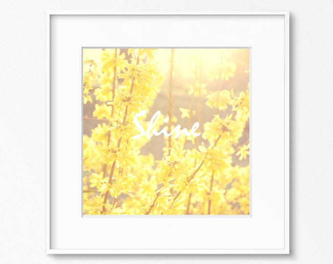 Yellow Floral Photography Print, Inspirational Wall Art, Kitchen Home Decor, Floral Nursery Print, Framed Typography Print, Sunshine Canvas