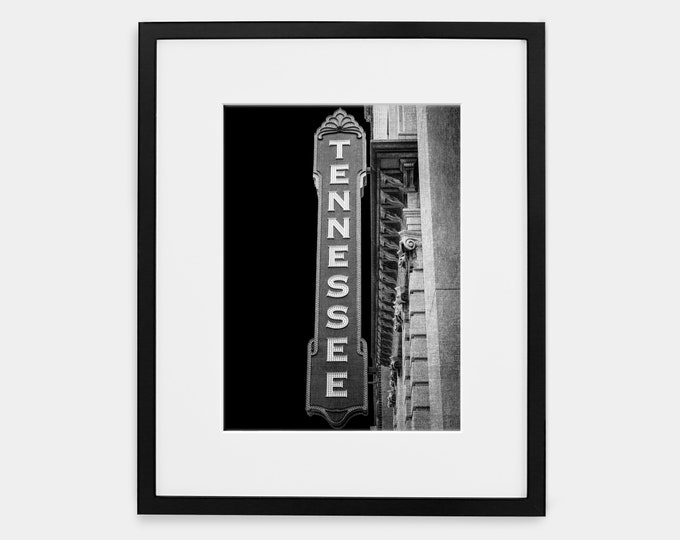 Tennessee Sign Photography Print, Black & White Art, UT Vols, Knoxville, Framed Tennessee Sign Print, Large Tennessee Canvas Art, Sign Art