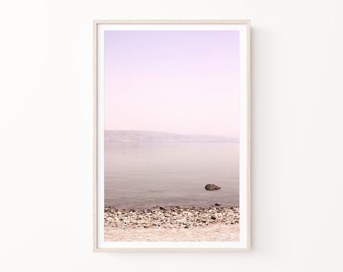 Pastel Water Landscape Wall Art. Sea of Galilee Photography Print, Coastal Living Travel Wall Art Print, Canvas, Wood or Custom Framed Print