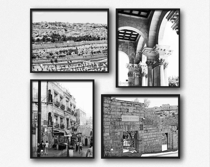 Jerusalem Photography Prints, Israel Wall Art, Black & White, Jaffa Gate, Gethsemane, Church of All Nations, Old City, Jerusalem Canvas Set