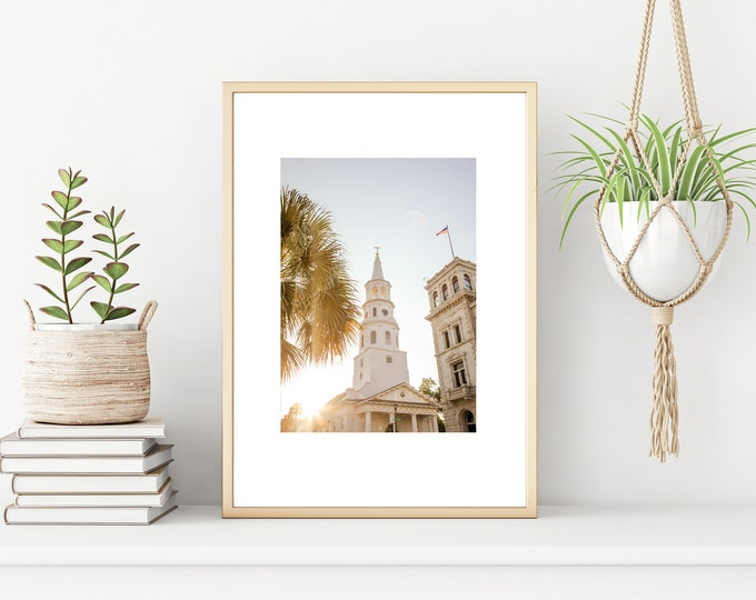 Charleston Photography Print, St. Michael's Church, Charleston Sunrise, Downtown Charleston, Palm Tree, Large Canvas Art, Custom Framing