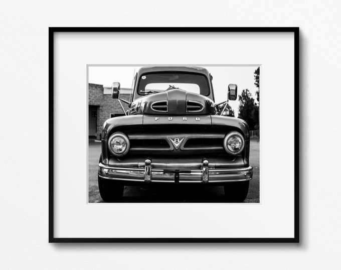 Vintage Ford Truck Photography Print, Classic Car Picture, Rustic Man Cave Art, Garage Decor, Framed Ford Truck Print, Large Truck Canvas