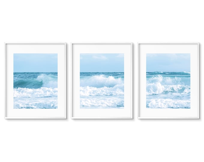 Turquoise Ocean Photography Set, Blue & White Water Art, Coastal Print Set, Teal Wall Art, Water Art, Framed Prints and Canvas Available