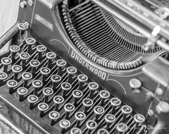 Typewriter Photography - Black & White, Vintage, Wall Art, Office Decor, Large, Prints and CANVAS 36x24, 30x20, 20x16