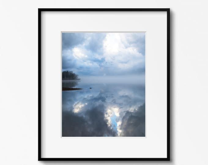 Lake Photography Print, Lake Landscape, Black & White Art, Clouds, Tennessee, Framed Lake Print, Large Lake Canvas Art, Water Art