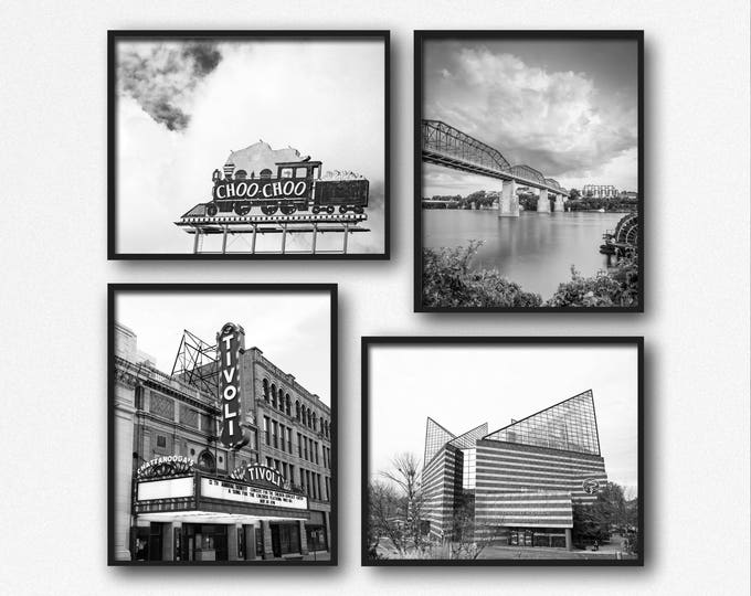 Chattanooga Photography Print Set, Chattanooga Wall Art, Black & White, Walnut St Bridge, Framed Chattanooga Prints, Chattanooga Canvas Set