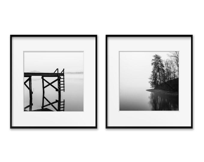 Lake Wall Decor, Black & White Prints, Rustic Home Decor, Set of 2, Lake Cabin Decor, Rustic Wall Art; Paper, Canvas, Metal or Wood Prints