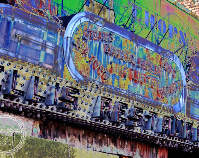 Abstract Sign Photography Urban Industrial Colorful Bright Blue Yellow Green Chattanooga Art Large Print Canvas 40x30 36x24 30x20 20x16