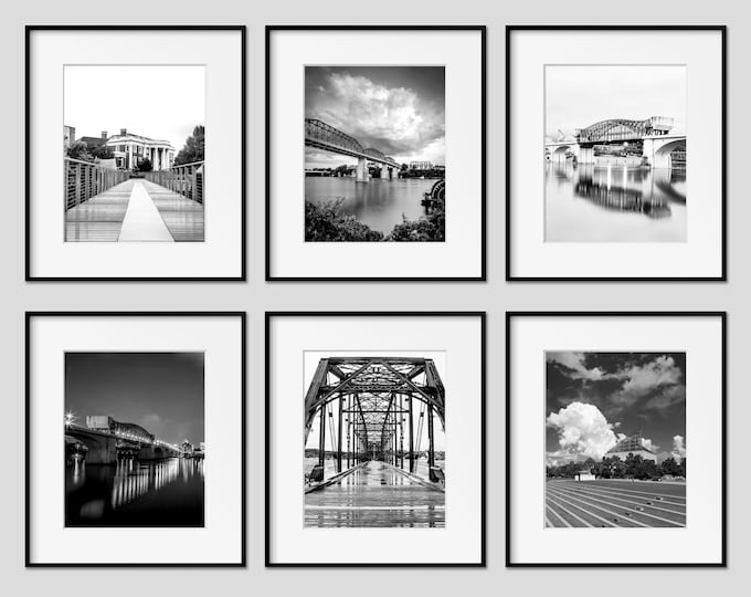 Chattanooga Wall Art, Photography Print Set of 6, Chattanooga Pictures, Black & White Art, Available on Paper, Canvas, Metal or Wood Prints
